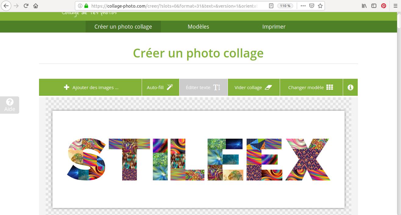 ¡Un montaje del nombre de Stileex hecho con varias imágenes en Photo Collage!