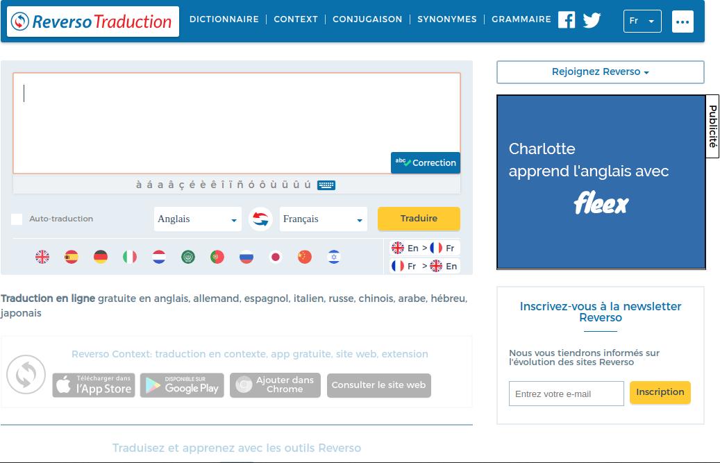 Las características avanzadas de Reverso permiten corregir automáticamente los textos a traducir.