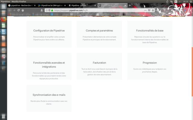 Obecné menu nabízené ve všech aspektech Pipedrive