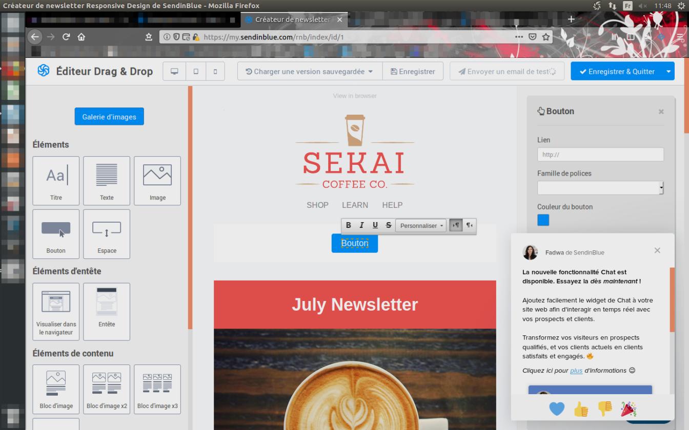 Una ventana emergente en la que el personal de Sendinblue le informa sobre la nueva función de Chat disponible en la plataforma.