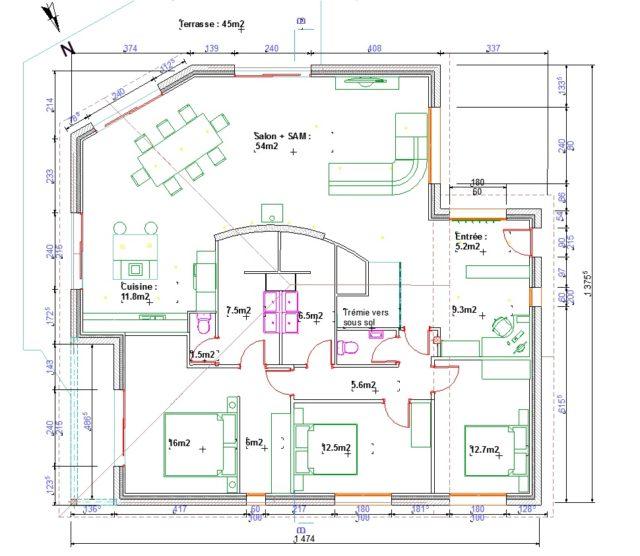 Plán domu vyrobeného s ArchiCadem
