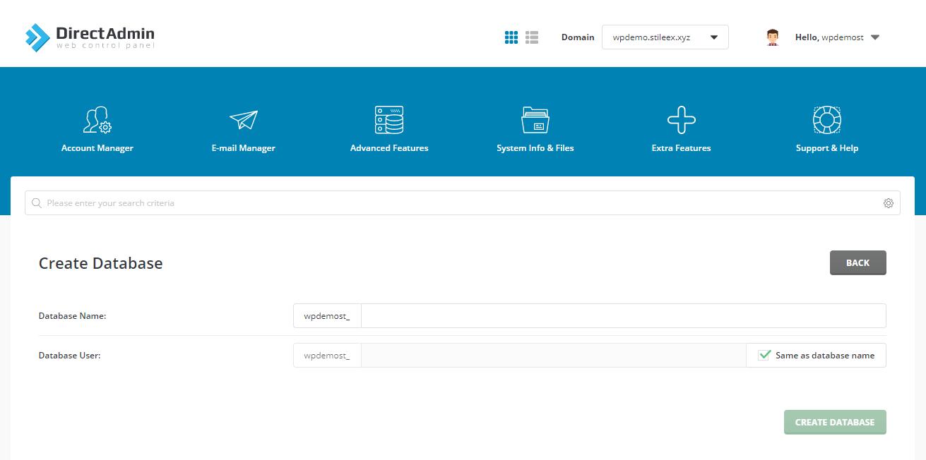 Création de la base de données pour votre site Internet WordPress dans DirectAdmin