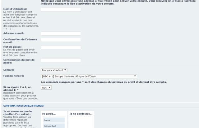 A modo de comparación, aquí está el formulario de registro en phpBB