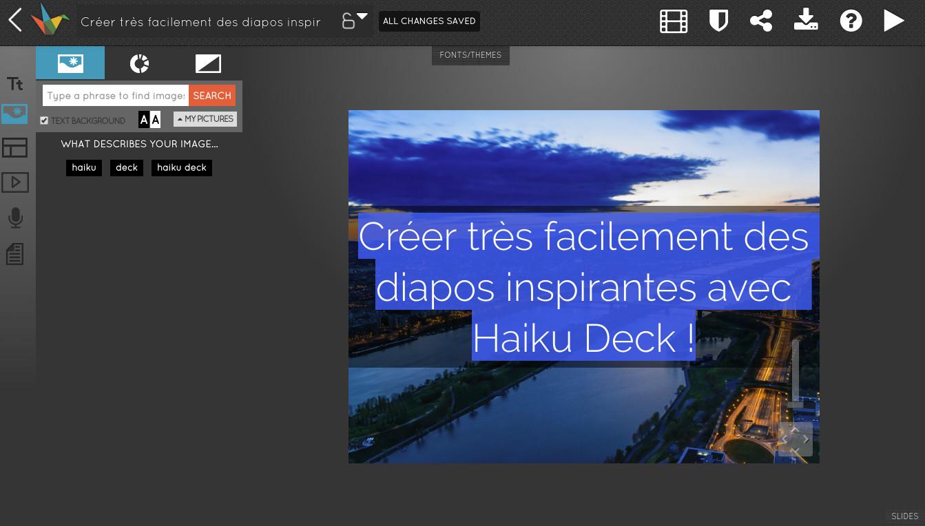 La interfaz de Haiku Deck es fácil de aprender y de usar.