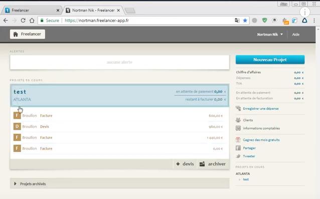 Softwarové rozhraní faktury FreelancerApp