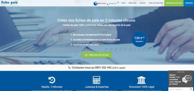 Mzdová online softwarová webová stránka Fiche-paie.net