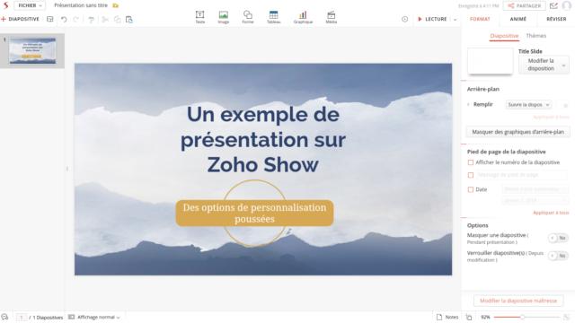 Čisté rozhraní a kompletní nástroje, podpis prezentačního softwaru Zoho Show