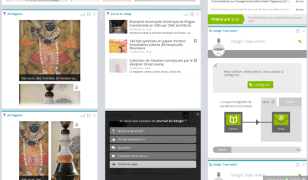Test motivu designu na Netvibes, jednom ze softwaru pro auto-podnikatele pro monitorování médií a aplikací, které si na něm můžete objednat