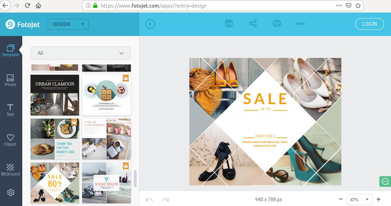 Una plantilla de edición de fotos en el software gratuito Fotojet
