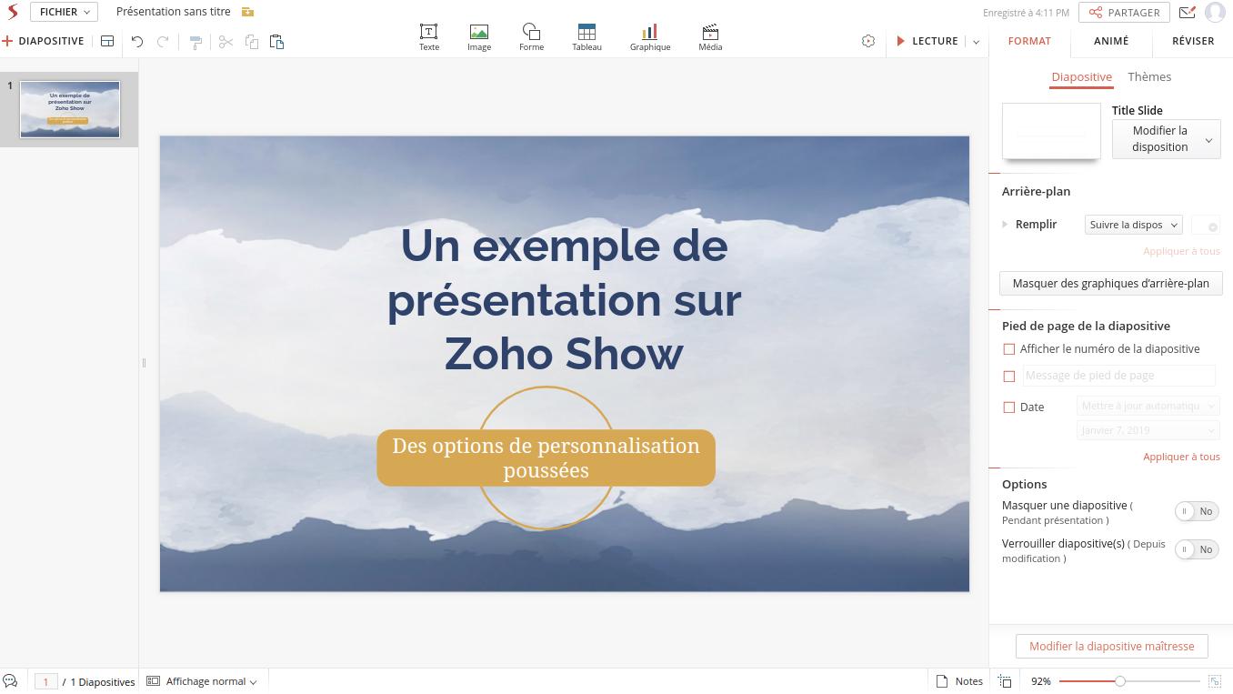 Interfaz elegante y herramientas completas, la firma del software de presentación Zoho Show