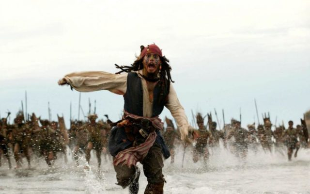 This scene from the Pirates of the Caribbean illustrates perfectly how you run to face the jostling :)