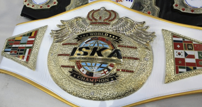An IKSA World Champion belt identical to the one won by Séverin Mamonjisoa
