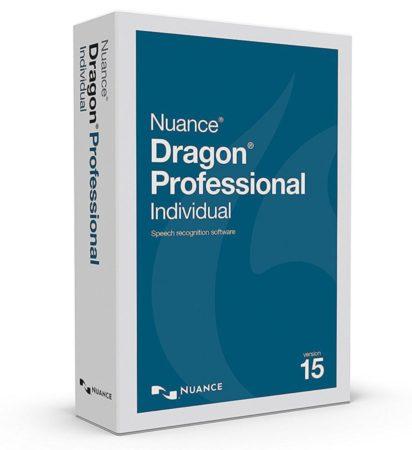 La caja de Dragon Professional Individual, un software de reconocimiento de voz de pago