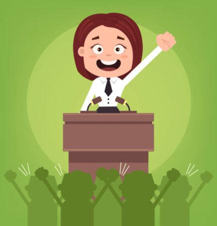 ¿No debería una mujer política ser más convincente en un discurso político?