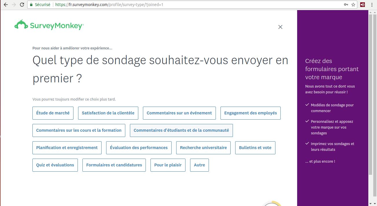 Tipos de inquéritos sobre o Survey Monkey