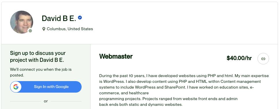 Voici un webmaster qui crée des sites Internet vitrine pour 40 $ par heure